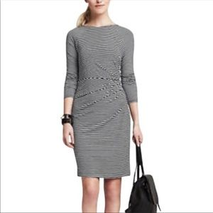 Banana Republic Ruched B/W Bodycon Dress Sz Small